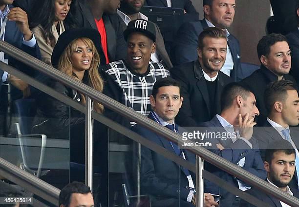 Beyonce Jay Z David Beckham attend the UEFA Champions League Group F match between Paris SaintGermain FC and FC Barcelona at the Parc des Princes...