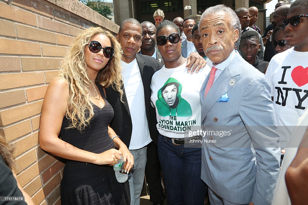 Beyonce, Jay Z, Sybrina Fulton and Al Sharpton attend National Action Network 100 City 'Justice For Trayvon' Vigil on July 20, 2013 in New York City.