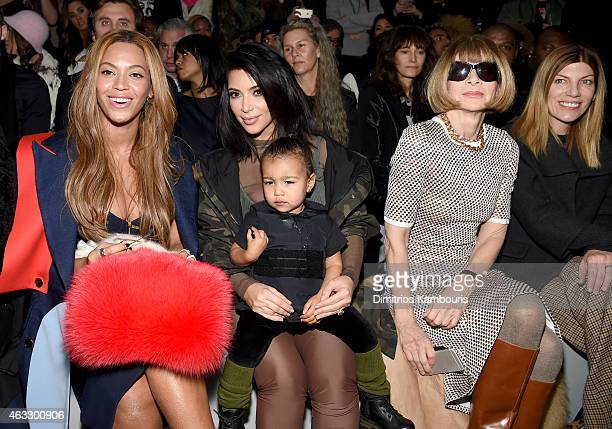 Beyonce Kim Kardashian with daughter North and Anna Wintour attend the adidas Originals x Kanye West YEEZY SEASON 1 fashion show during New York...