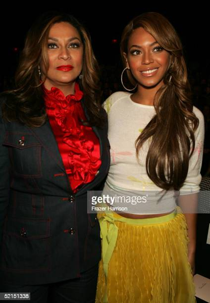 Beyonce Knowles and her mother Tina attend the Oscar De La Renta Fall 2005 fashion show during Olympus Fashion Week February 7 2005 in New York City