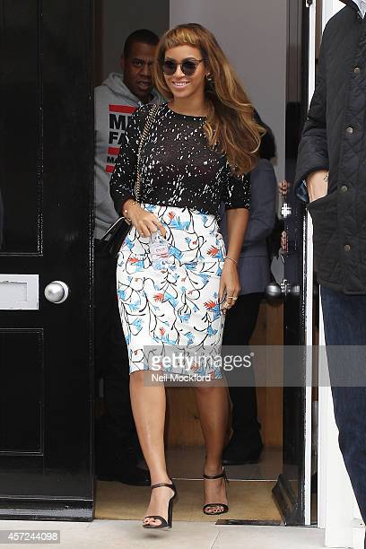 Beyonce Knowles and Jay Z seen leaving a gallery on October 15 2014 in London England