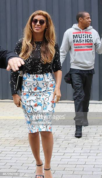Beyonce Knowles and Jay Z seen shopping in Mayfair on October 15 2014 in London England