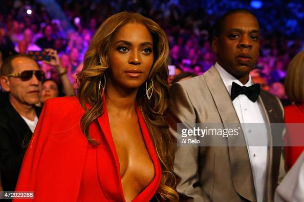 Beyonce Knowles and JayZ attend the welterweight unification championship bout on May 2 2015 at MGM Grand Garden Arena in Las Vegas Nevada