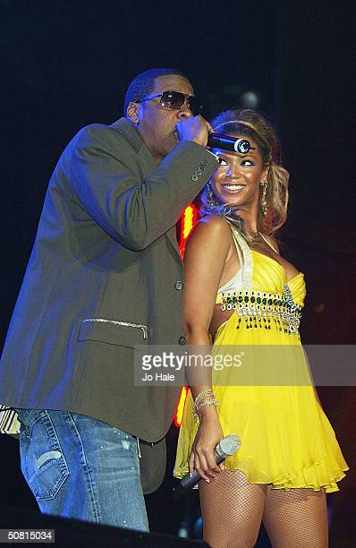 Beyonce Knowles and JayZ perform on stage during the first day of the 'The Prince's Trust Urban Music Festival' at Earls Court on May 8 2004 in...