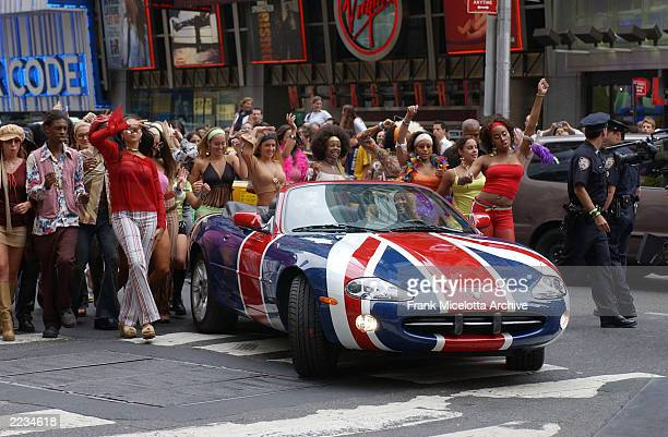 Beyonce Knowles and Mike Myers arrive in the Austin Powers spy car for MTV TRL to promote the film 'Austin Powers in Goldmember' at the MTV Times...
