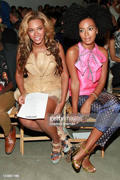 Beyonce Knowles and Solange Knowles attend the Rodarte Spring 2012 fashion show during MercedesBenz Fashion Week on September 13 2011 in New York City