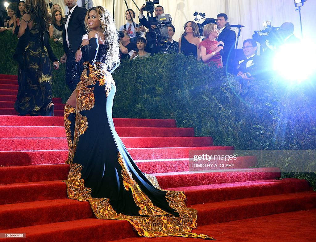 Beyonce Knowles attends the Costume Institute Benefit at The Metropolitan Museum of Art May 6, 2013, celebrating the opening of Punk: Chaos to Couture.