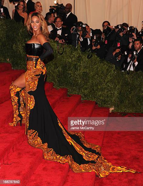 Beyonce Knowles attends the Costume Institute Gala for the 'PUNK Chaos to Couture' exhibition at the Metropolitan Museum of Art on May 6 2013 in New...