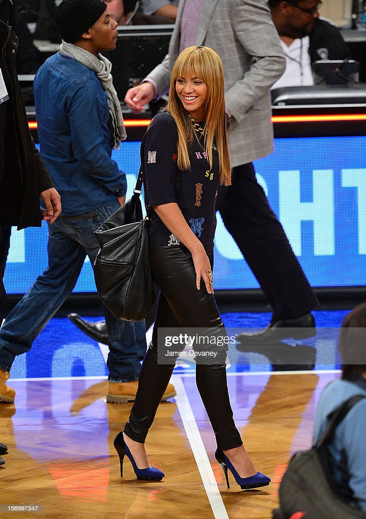 <a gi-track='captionPersonalityLinkClicked' href=/galleries/search?phrase=Beyonce+Knowles&family=editorial&specificpeople=171204 ng-click='$event.stopPropagation()'>Beyonce Knowles</a> attends the New York Knicks v Brooklyn Nets game at Barclays Center on November 26, 2012 in the Brooklyn borough of New York City.