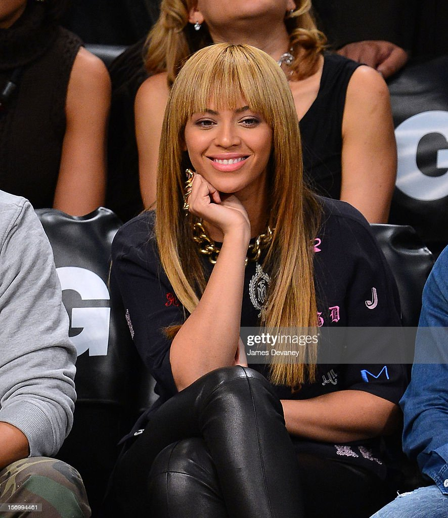 <a gi-track='captionPersonalityLinkClicked' href=/galleries/search?phrase=Beyonce+Knowles&family=editorial&specificpeople=171204 ng-click='$event.stopPropagation()'>Beyonce Knowles</a> attends the New York Knicks vs Brooklyn Nets game at Barclays Center on November 26, 2012 in the Brooklyn borough of New York City.