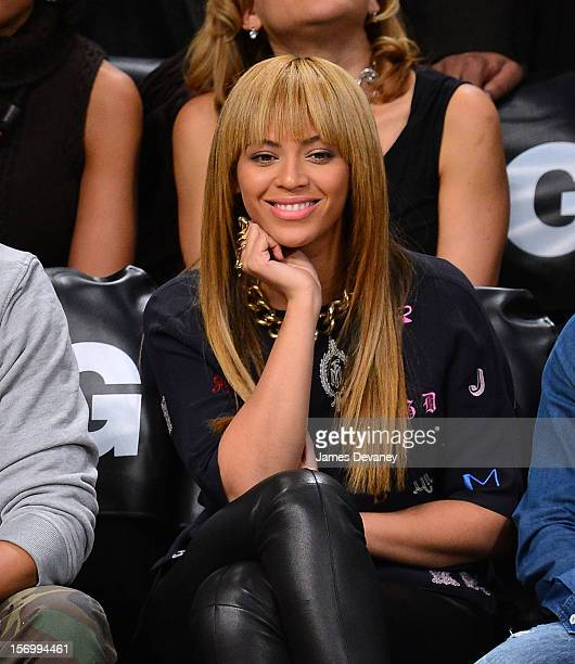 Beyonce Knowles attends the New York Knicks vs Brooklyn Nets game at Barclays Center on November 26 2012 in the Brooklyn borough of New York City