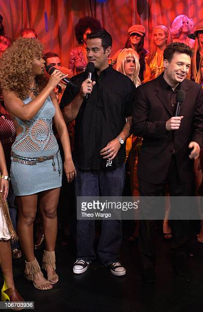 Beyonce Knowles Carson Daly and Mike Myers during Mike Myers and Beyonce Knowles Visit MTV's 'TRL' to promote 'Austin Powers in Goldmember' July 26...