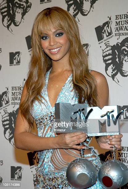 Beyonce Knowles during MTV Europe Music Awards 2003 Press Room at Ocean Terminal Arena in Edinburgh United Kingdom