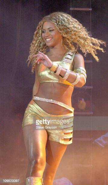 Beyonce Knowles during MTV's 'TRL' Tours Southern California September 2 2001 at Verizon Wireless Amphitheater in Irvine California United States