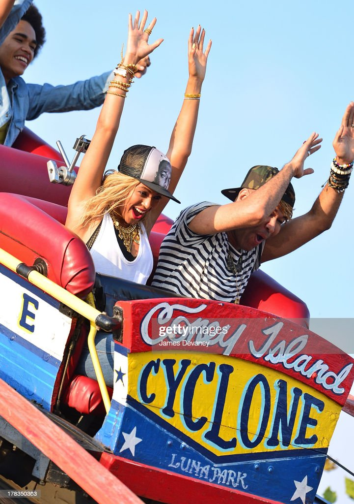 <a gi-track='captionPersonalityLinkClicked' href=/galleries/search?phrase=Beyonce+Knowles&family=editorial&specificpeople=171204 ng-click='$event.stopPropagation()'>Beyonce Knowles</a> films a music video on the Coney Island Cyclone in Brooklyn on August 29, 2013 in New York City.