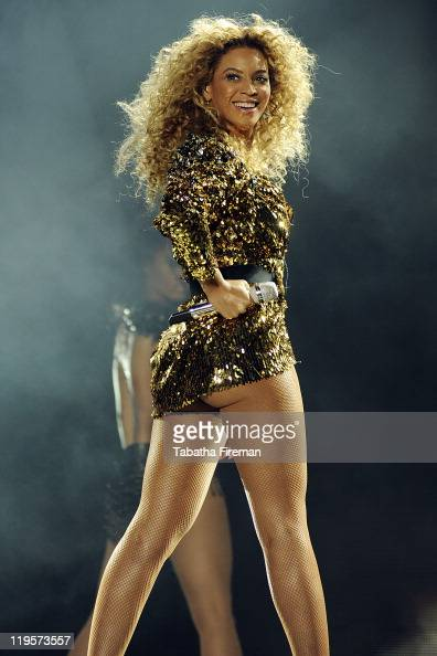Beyonce Knowles headlines the Pyramid stage on the fourth and final day of Glastonbury Festival 2011 at Worthy Farm on June 26 2011 in Glastonbury...