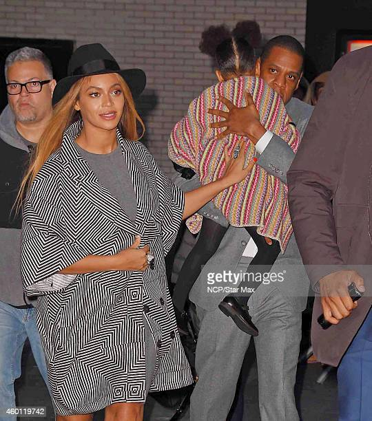 Beyonce Knowles JayZ and Blue Ivy are seen on December 7 2014 in New York City