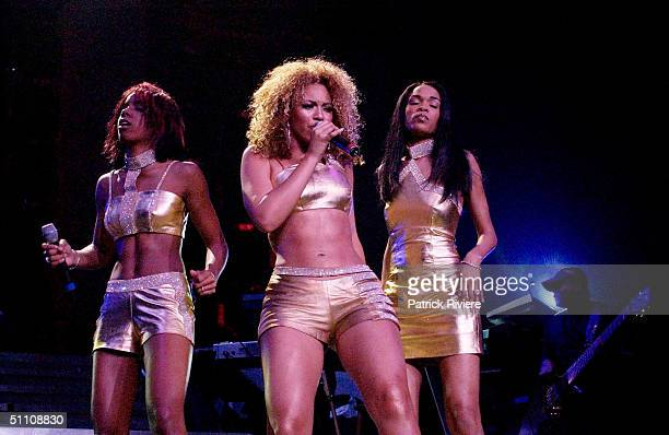 Beyonce Knowles Kelly Rowland and Michelle Williams of American band Destiny's Child in concert at The Sydney Entertainment Centre in Sydney Australia