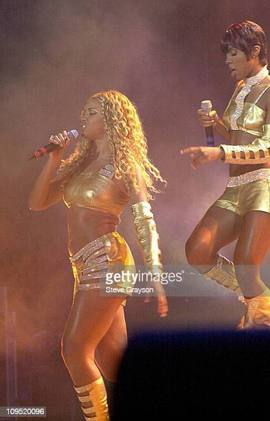 Beyonce Knowles Kelly Rowland during MTV's 'TRL' Tours Southern California September 2 2001 at Verizon Wireless Amphitheater in Irvine California...