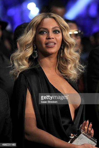 Beyonce Knowles looks on before Miguel Cotto takes on Canelo Alvarez in their middleweight fight at the Mandalay Bay Events Center on November 21...