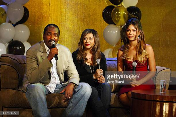 Beyonce Knowles Mathew Knowles Tina Knowles during Beyonce Celebrates her Birthday at BET's 106 and Park September 5 2006 in New York City United...