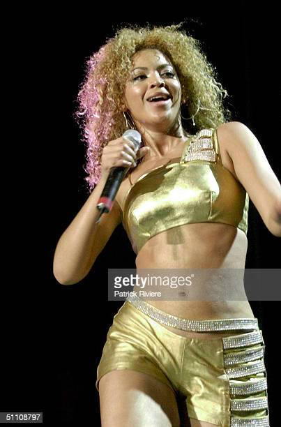Beyonce Knowles of American band Destiny's Child in concert at The Sydney Entertainment Centre in Sydney Australia