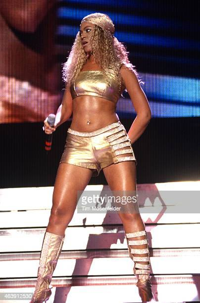 Beyonce Knowles of Destiny's Child performs during the MTV TRL Tour 2001 at The Chronicle Pavillion on September 1 2001 in Concord CA