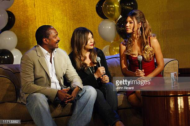 Beyonce Knowles Tina Knowles Mathew Knowles during Beyonce Celebrates her Birthday at BET's 106 and Park September 5 2006 in New York City United...