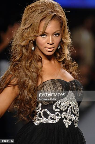 Beyonce Knowles walks the runway at the 'Fashion for Relief' fashion show with proceeds going to aid Hurricane Katrina victims during Olympus Fashion...
