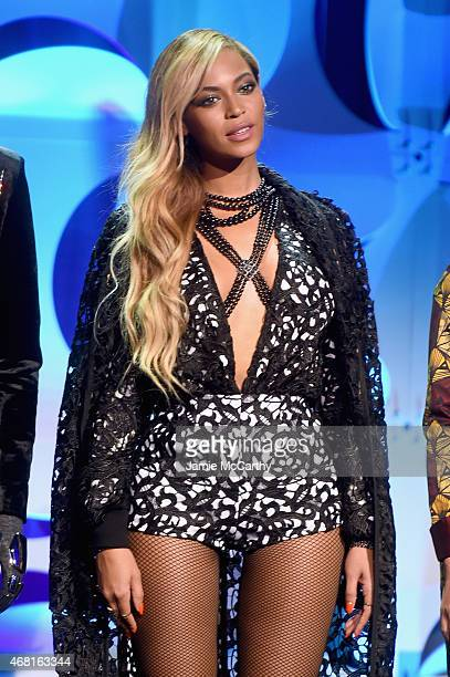 Beyonce onstage at the Tidal launch event #TIDALforALL at Skylight at Moynihan Station on March 30 2015 in New York City