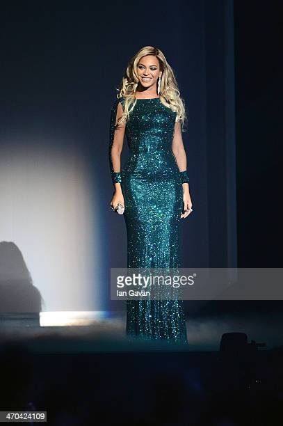 Beyonce performs at The BRIT Awards 2014 at 02 Arena on February 19 2014 in London England