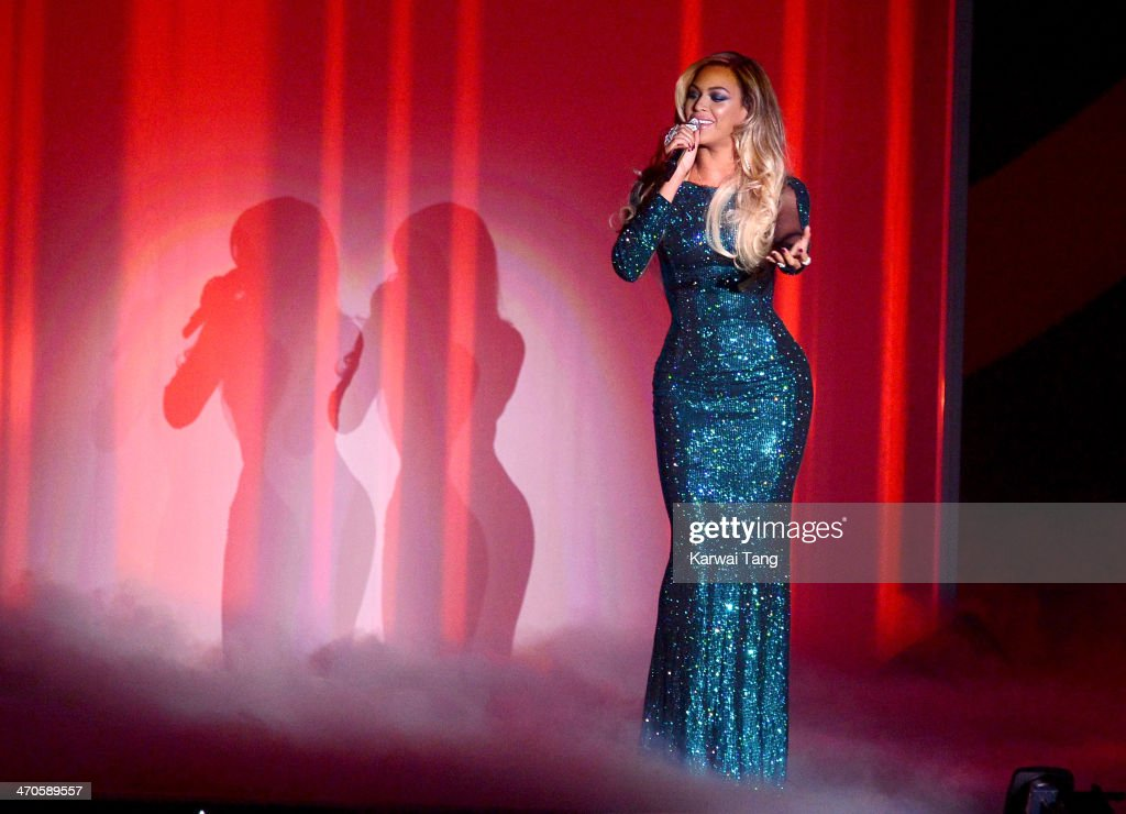 Beyonce performs at The BRIT Awards 2014 at 02 Arena on February 19, 2014 in London, England.
