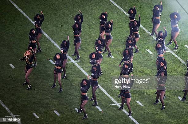 Beyonce performs during Super Bowl 50 at Levi's Stadium on February 7 2016 in Santa Clara California