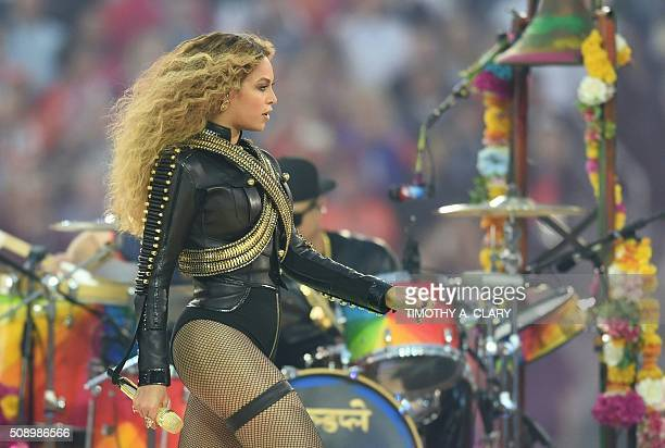Beyonce performs during Super Bowl 50 between the Carolina Panthers and the Denver Broncos at Levi's Stadium in Santa Clara California on February 7...