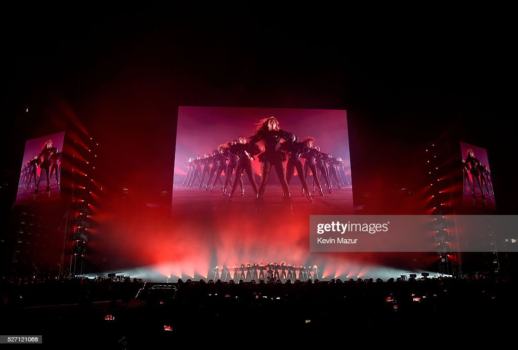 Beyonce performs during the Formation World Tour at the Georgia Dome on May 01 2016 in Atlanta Georgia Beyonce wears a custom Gucci body suit with...