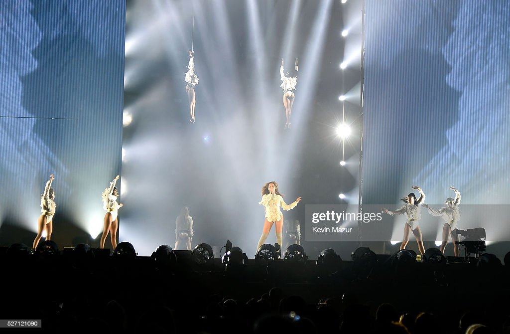 Beyonce performs during the Formation World Tour at the Georgia Dome on May 01 2016 in Atlanta Georgia Beyonce wears a custom lace corset by Balmain
