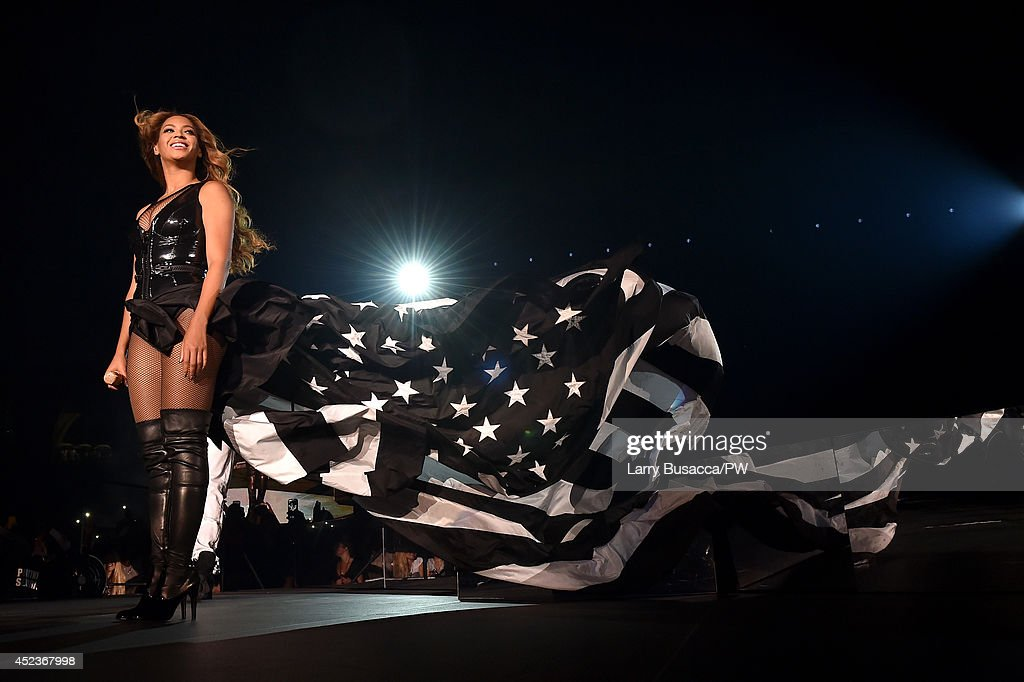 Beyonce performs during the 'On The Run Tour: Beyonce And Jay-Z' at Minute Maid Park on July 18, 2014 in Houston, Texas.