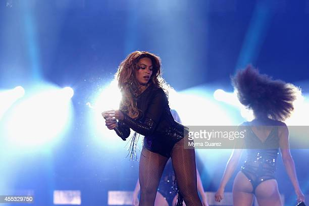 Beyonce performs during the 'On The Run Tour Beyonce And JayZ' at the Stade de France on September 12 2014 in Paris France