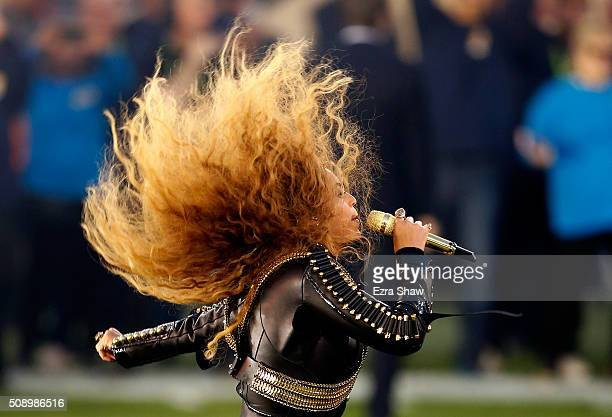 Beyonce performs during the Pepsi Super Bowl 50 Halftime Show at Levi's Stadium on February 7 2016 in Santa Clara California