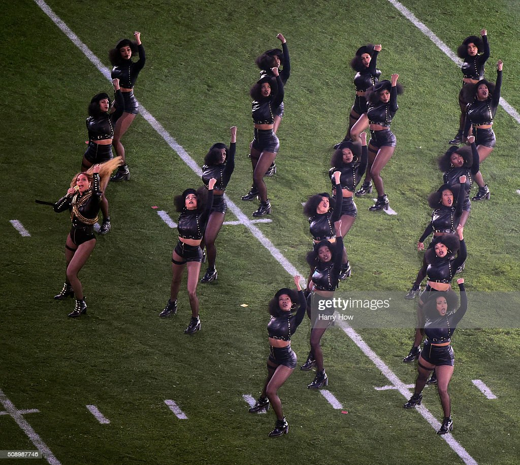 Beyonce (L) performs during the Pepsi Super Bowl 50 Halftime Show at Levi's Stadium on February 7, 2016 in Santa Clara, California.