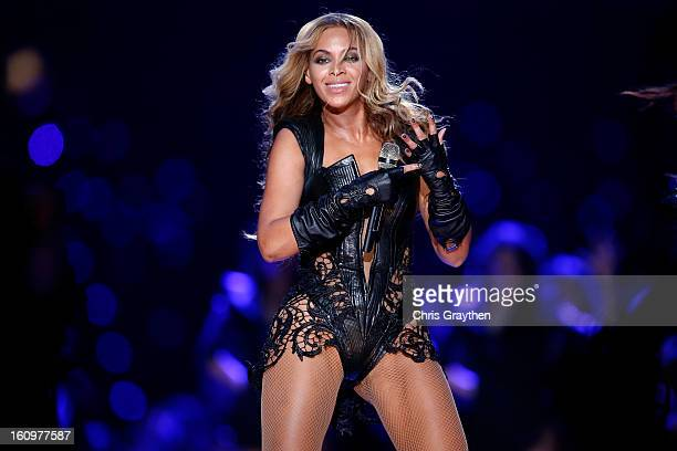 Beyonce performs during the Pepsi Super Bowl XLVII Halftime Show at the MercedesBenz Superdome on February 3 2013 in New Orleans Louisiana