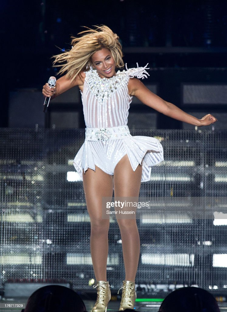 Beyonce performs live as she headlines the Virgin Media Stage on day 1 of V Festival at Hylands Park on August 17, 2013 in Chelmsford, England.