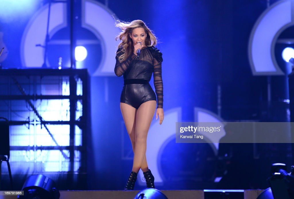 Beyonce performs on stage at the 'Chime For Change: The Sound Of Change Live' Concert at Twickenham Stadium on June 1, 2013 in London, England. Chime For Change is a global campaign for girls' and women's empowerment founded by Gucci with a founding committee comprised of Gucci Creative Director Frida Giannini, Salma Hayek Pinault and Beyonce Knowles-Carter.