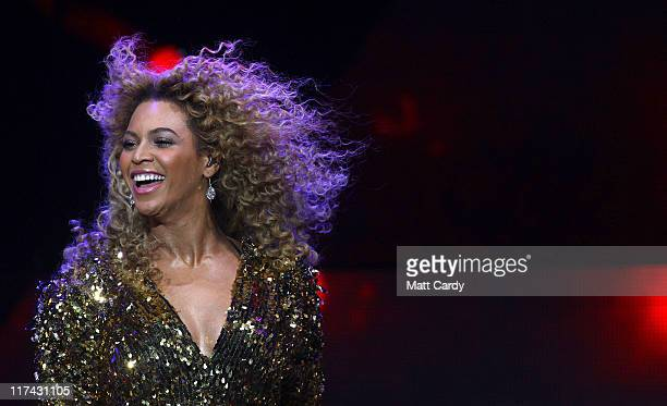 Beyonce performs on the main Pyramid Stage at the Glastonbury Festival site at Worthy Farm Pilton on June 26 2011 This year's festival features...