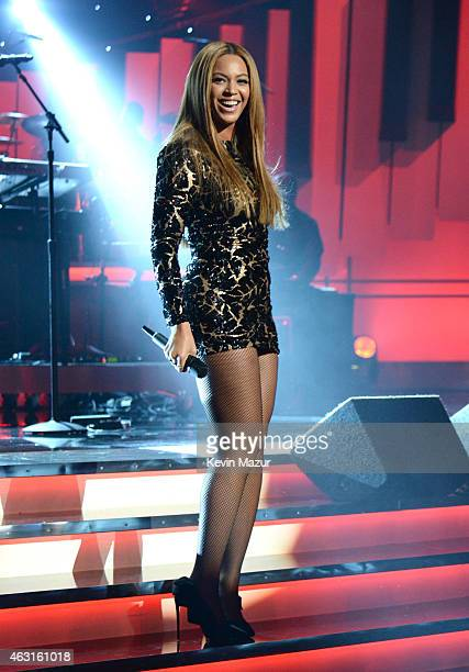 Beyonce performs onstage during Stevie Wonder Songs In The Key Of Life An AllStar GRAMMY Salute at Nokia Theatre LA Live on February 10 2015 in Los...