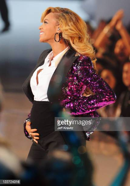 Beyonce performs onstage during the 2011 MTV Video Music Awards at Nokia Theatre LA Live on August 28 2011 in Los Angeles California