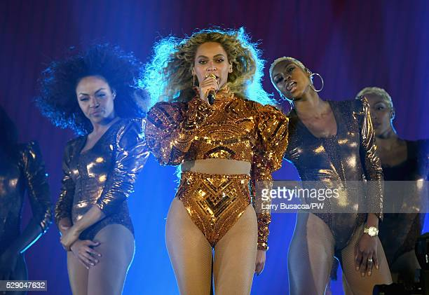 Beyonce performs onstage during 'The Formation World Tour' at NRG Stadium on May 7 2016 in Houston Texas Beyonce wears a custom Atsuko Kudo bodysuit...