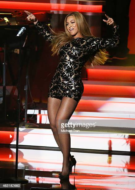 Beyonce performs onstage during the Stevie Wonder Songs In The Key Of Life An AllStar GRAMMY Salute held at Nokia Theatre LA Live on February 10 2015...