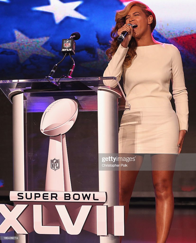 Beyonce performs the National Anthem at the Pepsi Super Bowl XLVII Halftime Show Press Conference at the Ernest N. Morial Convention Center on January 31, 2013 in New Orleans, Louisiana.