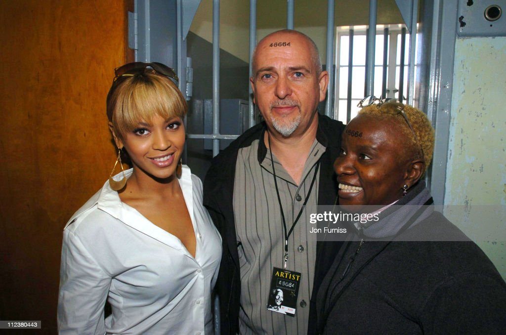 Beyonce, Peter Gabriel and Angelique Kidjo during '46664: Give One Minute Of Your Life To AIDS' - Press Conference On Robben Island at Robben Island in Cape Town, South Africa.